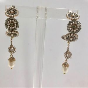 ZD Exclusives Jewelry - Stunning Handmade Crystal & Pearl Hoop Dangles,NWT